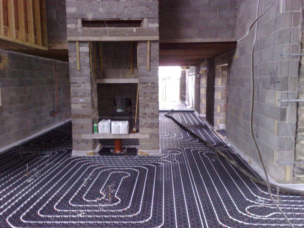 Underfloor heating at Dryslwyn Carmarthen